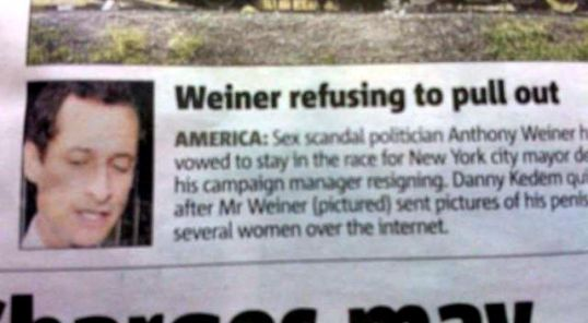Weiner Refusing To Pull Out